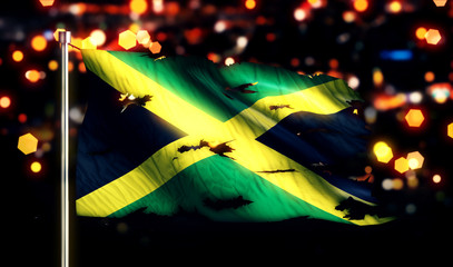 Jamaica National Flag Torn Burned War Freedom Night 3D