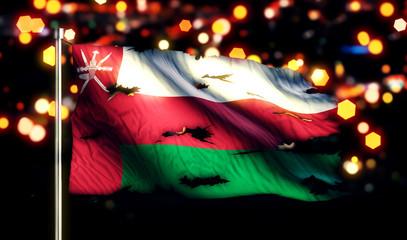 Oman National Flag Torn Burned War Freedom Night 3D