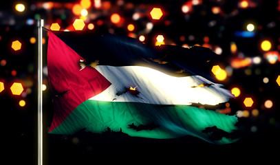 Palestine National Flag Torn Burned War Freedom Night 3D