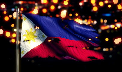 Philippines National Flag Torn Burned War Freedom Night 3D