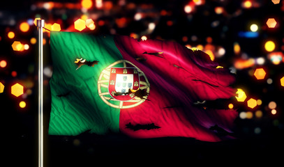 Portugal National Flag Torn Burned War Freedom Night 3D