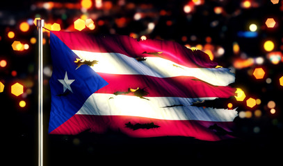 Puerto Rico National Flag Torn Burned War Freedom Night 3D