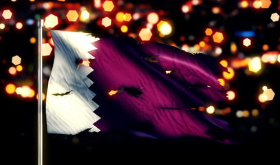 Qatar National Flag Torn Burned War Freedom Night 3D