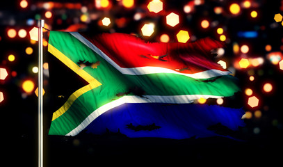 South Africa National Flag Torn Burned War Freedom Night 3D