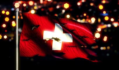 Switzerland National Flag Torn Burned War Freedom Night 3D