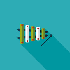 Xylophone flat icon with long shadow,eps10