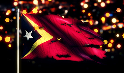 Timor Leste National Flag Torn Burned War Freedom Night 3D