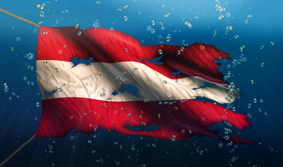 Austria Under Water Sea Flag National Torn Bubble 3D