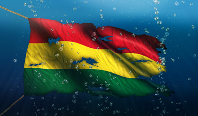 Bolivia Under Water Sea Flag National Torn Bubble 3D