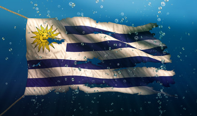 Uruguay Under Water Sea Flag National Torn Bubble 3D