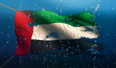 United Arab Emirates Under Water Sea Flag National Torn 3D