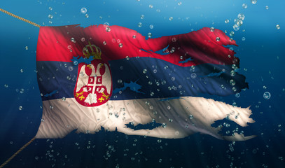 Serbia Under Water Sea Flag National Torn Bubble 3D