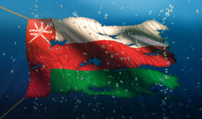 Oman Under Water Sea Flag National Torn Bubble 3D