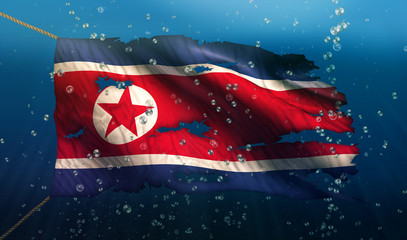 North Korea Under Water Sea Flag National Torn Bubble 3D