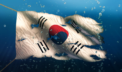 South Korea Under Water Sea Flag National Torn Bubble 3D