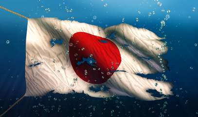 Japan Under Water Sea Flag National Torn Bubble 3D