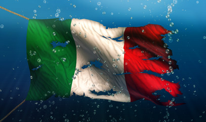 Italy Under Water Sea Flag National Torn Bubble 3D