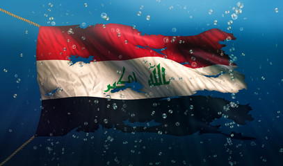 Iraq Under Water Sea Flag National Torn Bubble 3D