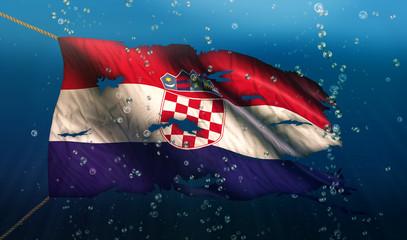 Croatia Under Water Sea Flag National Torn Bubble 3D
