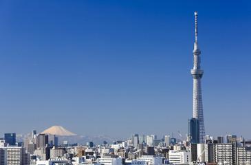 快晴青空・美しい富士山と東京スカイツリー(2機の旅客機が飛ぶ)