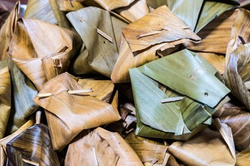 Thai caramel in banana leaf close-up
