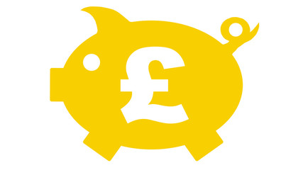 piggy bank in yellow with pfund symbol - pfund7 - g1185