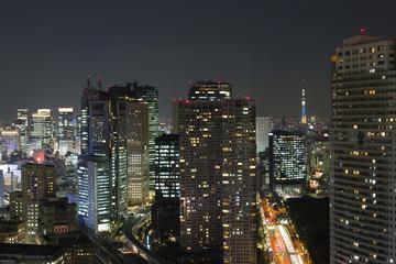 [東京都市風景] 汐留・丸の内の高層ビル街と東京スカイツリー-555