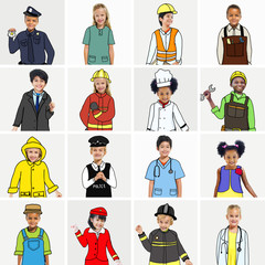 Multiethnic Group of Children with Jobs Concepts
