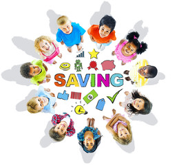 Multiethnic Group of Children and Saving Concept