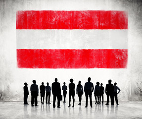 Silhouettes of People and a Flag of Austria