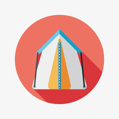 tourist tent flat icon with long shadow