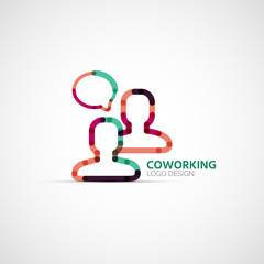 Vector coworking company logo, business concept