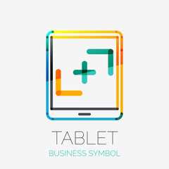 Tablet screen icon company logo, business concept