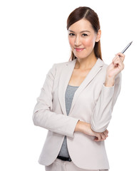 Asian young businesswoman with pen up