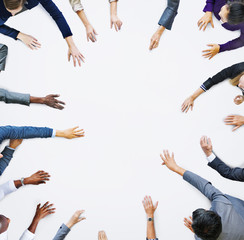 Human Hands of Business People and Copy Space