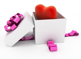 Heart in box. 3d render illustration on white background