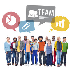 Multiethnic Group of People with a Team Concept