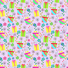 Vector seamless background with colorful boxes and flowers