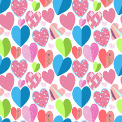 Vector seamless background with colorful hearts
