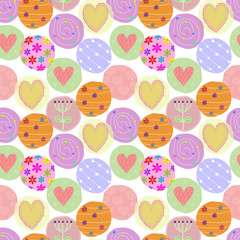 Vector seamless background with colorful hearts and flowers