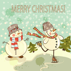 Christmas card with snowmen in vintage style