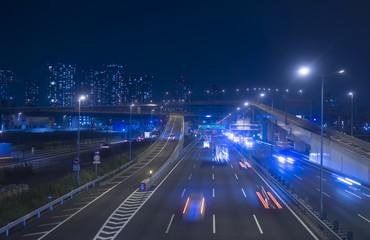 [東京都市風景]24時間眠らない大都会の幹線道路(首都高)イメージ-453