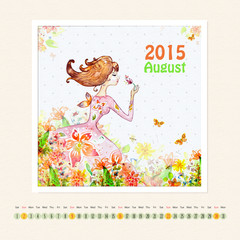 Calendar for august 2015 with girl, watercolor painting