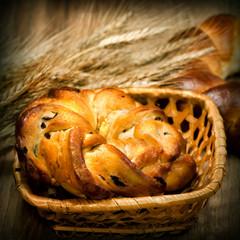 Fresh baked sweet bun with wheat