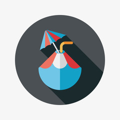 Coconut Water Drink , flat icon with long shadow