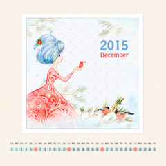 Calendar for december 2015 with girl, watercolor painting