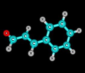 Cinnamaldehyde molecule isolated on black
