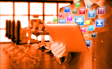 Business man using tablet PC