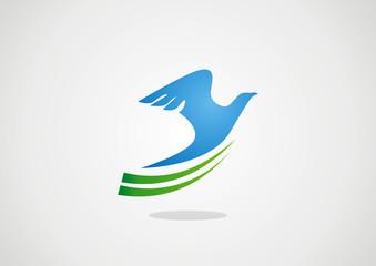bird globe siluetgreen leaf logo vector