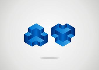 Symbol design box Emblem with cube elements
